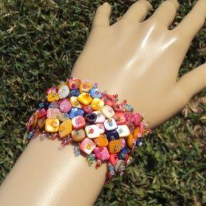 Colorful Polished Stones Seed Beaded Bracelet